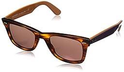 Ray-Ban 0RB2140 Square Sunglasses, Havana Brown Mirror & Dark Red, 50 mm