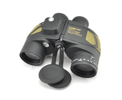 Visinking 7X50 Floating Binoculars Build-In Compass And Reticle Range Finder Color Black