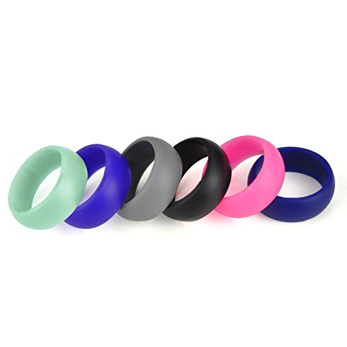 (Price/10 Pcs) GOGO Premium Women's Silicone Wedding Rings - 9 mm Wide(2 mm Thick) Flexible Wedding Bands - Great Gifts for Birthday or Anniversary