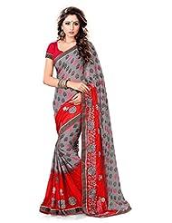 Sourbh Sarees Grey & Red Crepe Saree