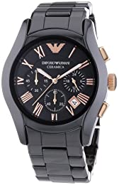 Emporio Armani Gents AR1410 Ceremica Watch Black Bracelet with Black Dial and Rose Gold Roman Numerals
