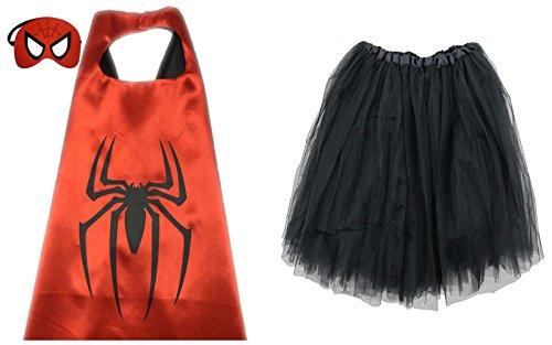 Superhero TUTU, CAPE, & MASK - Adult Teen Plus Womens Complete Halloween Costume (Regular Size Adult Tutu, Spiderman - Red & Black)