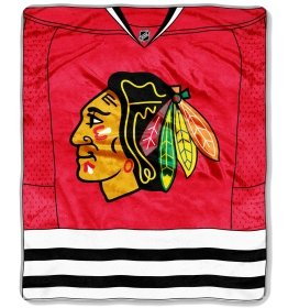 "Chicago Blackhawks 50""X60"" Royal Plush Raschel Throw Blanket - Jersey Design--(Package Of 2)"