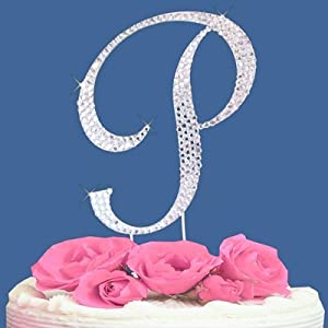 Cake Toppers Letter P : Amazon.com: Fully Covered in Crystal Monogram Wedding Cake ...