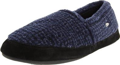 ACORN Men's Tex Moc Slipper,Medium,Blue Check