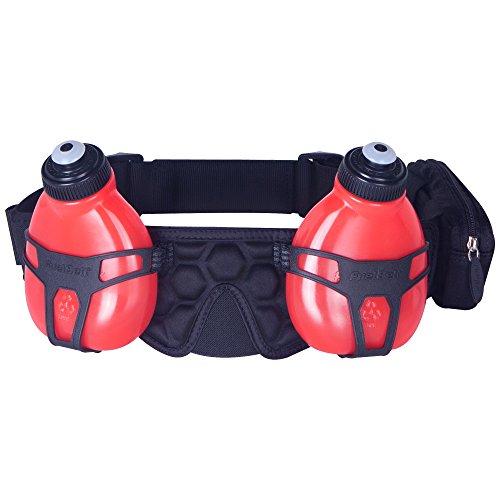 FuelBelt Trinkgürtel mit 2 Flaschen Helium H2O, Black/Red, 0873855000415
