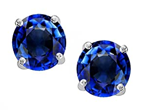 Original Star K(tm) Round 7mm Created Sapphire Earring Studs in .925 Sterling Silver