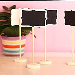 Kubert® Mini Blackboard Chalkboard Wordpad Message Board Holder Chalkboard Blackboard with Stand Wedding Party Table Numbers Place Card Favor Tag Plant Marker (Rectangle 1)