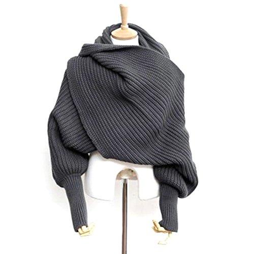 LEORX Donne sciarpa scialle mantella con maniche lavorata a maglia (grigio scuro)