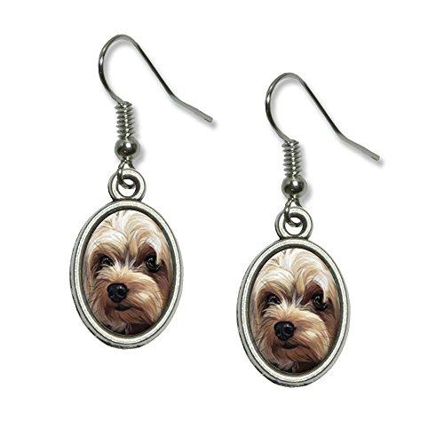 Yorkshire Terrier - Yorkie Dog Pet Novelty Dangling Drop Oval Charm Earrings 3d Yorkie Dog Charm