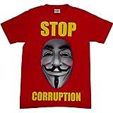 ジョークTシャツ STOP CORRUPTION レッド (Mサイズ)
