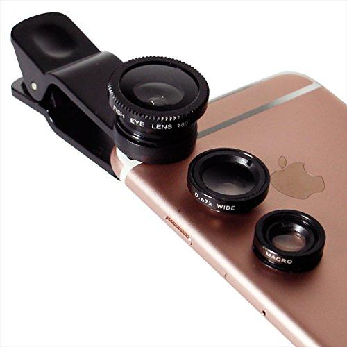 オウルテック iPhone各種スマートフォン対応 クリップ型カメラレンズセット (マクロ・魚眼・ワイド) ブラック 収納袋付 OWL-MALENS01-BK