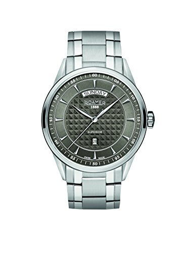 Roamer Superior Day Date Men's Quartz Watch with Grey Dial Analogue Display and Silver Stainless Steel Bracelet 508293 41 05 50