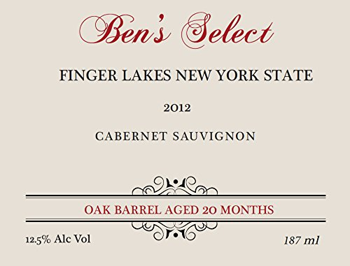 "2012 Ben Ish Winery ""Ben'S Select"" Finger Lakes New York State Cabernet Sauvignon With Personalized Label 187 Ml"