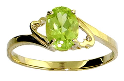 Genuine Oval Peridot 14k Gold Promise Ring