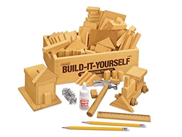 "Imagine it, then build it! Kids create project after project using smooth pine pieces in a wide variety of shapes. We've also included a lightweight hammer, plus nails, a guide with instructions for multiple projects and more-all in a handy 7 3/4"" x ..."