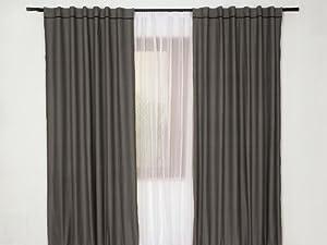 Gray Black Curtains Drapes Set 4 Pcs