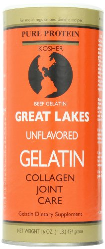 Great Lakes Unflavored Gelatin, Kosher, 16-Ounce Can (Single)
