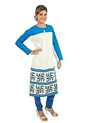 Kandida Madhubani Style Full-Sleeves Royal Blue Cotton Kurta