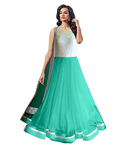 starword fashion women\'s soft net anarkali dresses (KIKASKY002_SKY_FREESIZE)