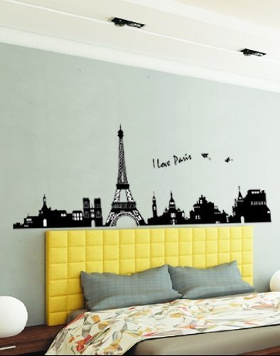 Hunnt® Large I Love Paris Eiffel Tower Sticker Decal for Kids Room Living Room - 1