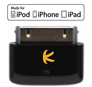 KOKKIA i10s (NEW Luxurious Black) Tiny Bluetooth iPod Transmitter for iPod/iPhone/iPad/iTouch with true Apple authentication. Remote controls and local iPod/iPhone/iPad volume control capabilities. Works and fits very well with latest iPod 6th generation tiny Nano, iPod Touch 4th generation, iPhone 4 and iPad.