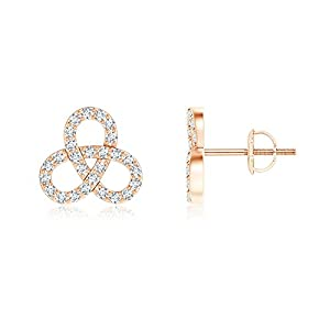 Mothers Day Contemporary Diamond Studded Celtic Knot Stud Earrings in 14K Rose Gold (Color: G, Clarity: VS, Weight: 0.54ctwt)