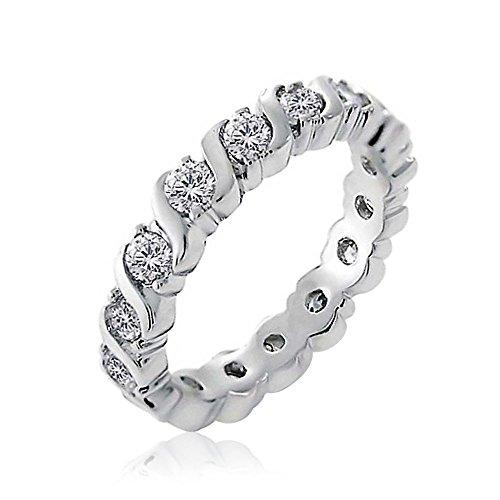 Bling Jewelry Sterling Silver CZ Onda Eternity anello della fascia
