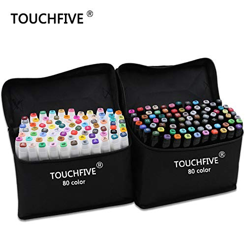 Art Markers|TouchFive Marker 30/40/60/80/168 Colors pen Brush pen Alcoholic Oily based ink Art Marker For Manga Dual Headed Sketch Markers|by ATUKI| (Color: Full 168 Color)