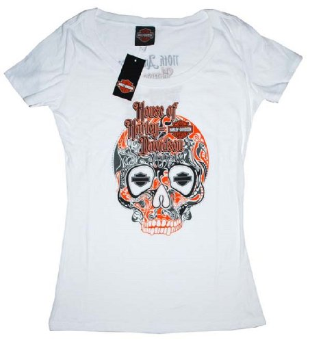 House of Harley-Davidson® Women's Harley-Davidson® Sugar White Skull 100th Anniversary Scoop Neck T-Shirt. House of Harley-Davidson® Graphics on Back. White. Tee. 302962640