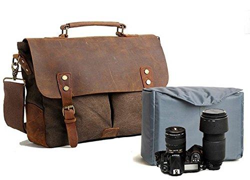 [AKARMY]帆布 カメラバッグ 一眼レフ ショルダー キャンバス レザー おしゃれ KN1227215(ブラウン)