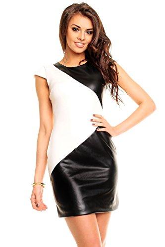 Scharfes Party Club Gogo Mini Kleid Wetlook Leder Einsätzen in Schwarz/Weiß, S M L XL