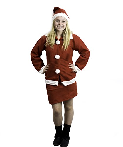 Mrs Santa Adult Christmas Costume 3 Pcs Set - Hat, Skirt, and Suit with Sleeves