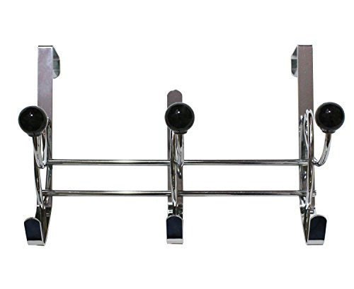 JustNile Over The Door Dual Hook Organizer Rack - 3 Black Curly Knobbed Hooks (Door Knob Rack compare prices)