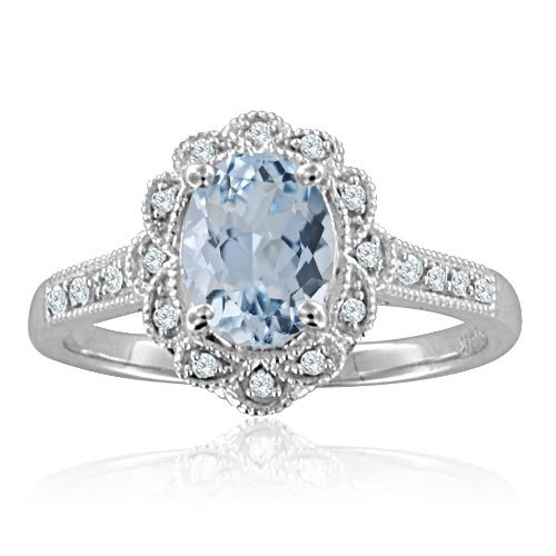Milgrain Natural Aquamarine and Diamond Ring in 14k White Gold (H, SI2, 1.15 cttw) Certificate of Authenticity