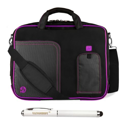 Black Purple Vg Pindar Edition Messenger Bag Carrying Case For Archos 97 Xs / Archos 97 Carbon / Arnova 9 G3 / Archos Arnova 9 G2 9.7 Inch Tablets + Executive Laser Stylus Pen With Led Light