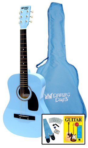 Darling-Divas-Acoustic-Steel-String-Guitar-Package-for-Girls-Color-Powder-Blue-Includes-an-acoustic-guitar-color-gig-bag-strap-picks-pitch-pipe-tuner-string-winder-and-instruction-book