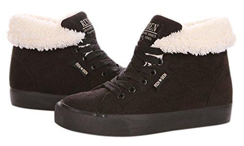 Minetom Donna Lace Up Neve Stivali Autunno Inverno Calzature Female Moda Flats Scarpe Cavaliere Stivaletti ( Nero EU 37 )