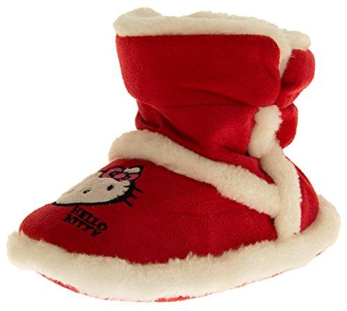 Hello Kitty Bambina Rosso Eco-pelliccia Foderata Stivali Pantofole EU 34-35