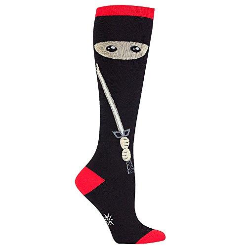 Sock It to Me Women's Socks Sneaky Ninja Knee High Black 1pair, Red and Black, Size 5-10 (Sneaky Ninja compare prices)