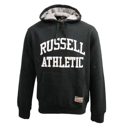 RUSSELL ATHLETIC Script Logo da uomo felpa con cappuccio, nera, XL