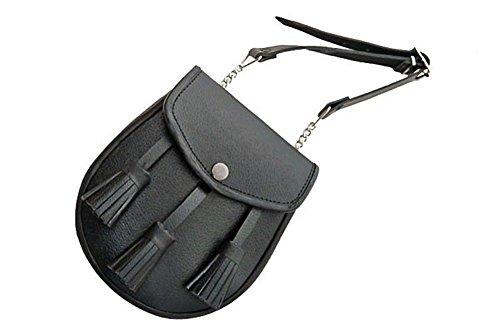 Medieval Pouch Blk Leather Scottish Kilt Sporran & Belt
