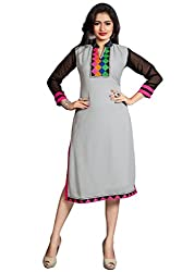 Kavvya Fashion Grey Georgette Embroidered Kurtis