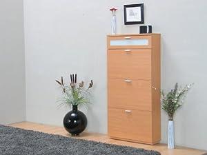 schuhschrank new york 3trg schublade buche schrank schuhkipper schuhkommode. Black Bedroom Furniture Sets. Home Design Ideas
