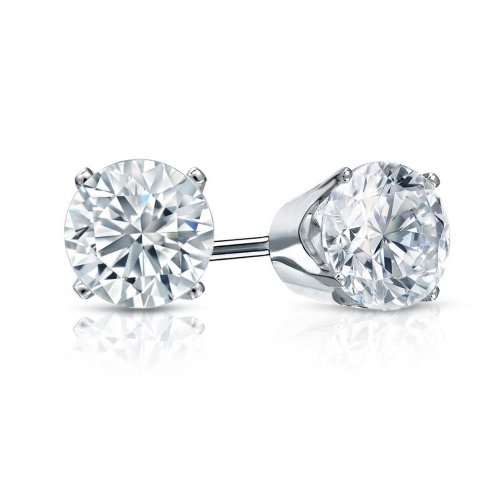 PARIKHS Round Cut Diamond Stud Promo Quality in 10-14k White & Yellow Gold (J-K color, I2 clarity)