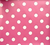 PINK POLKA DOT SPOTS PVC OILCLOTH VINYL FABRIC KITCHEN CAFE BAR TABLE WIPECLEAN PICTURE TABLECLOTH PER METRE 100CM X 135 CM BRAND NEW CUT TO ORDER