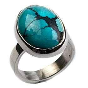 Genuine Turquoise and Sterling Silver Oval Ring
