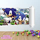 1Stop Graphics - Shop Sonic The Hedgehog Full Colour Wall Sticker - Boys Girls Shaddow Disney C137 - Left To Right - Size: Large