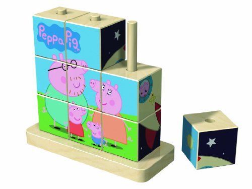 Jumbo Games Peppa Pig Wooden Cube Jigsaw Puzzle (9 Pieces)