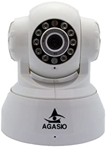 Agasio A512-POE Pan & Tilt IP Camera with Power Over Ethernet, 8 Meter Night Vision, Motion Detection Email & FTP Alarm, 3.6mm Lens (67° Viewing Angle) - White